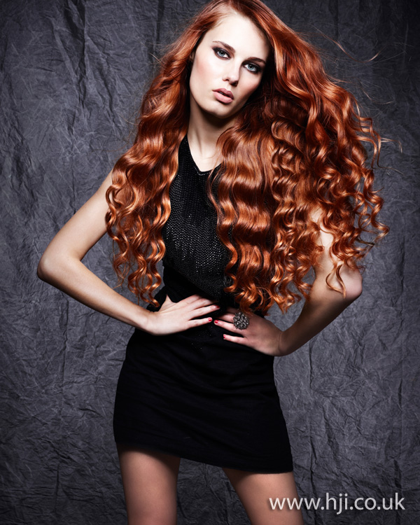 2012 womens long wave red hairstyle