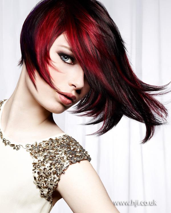 2013 red black flick hair