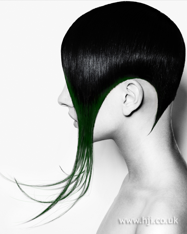 Black sleek short hairstyle with long ends
