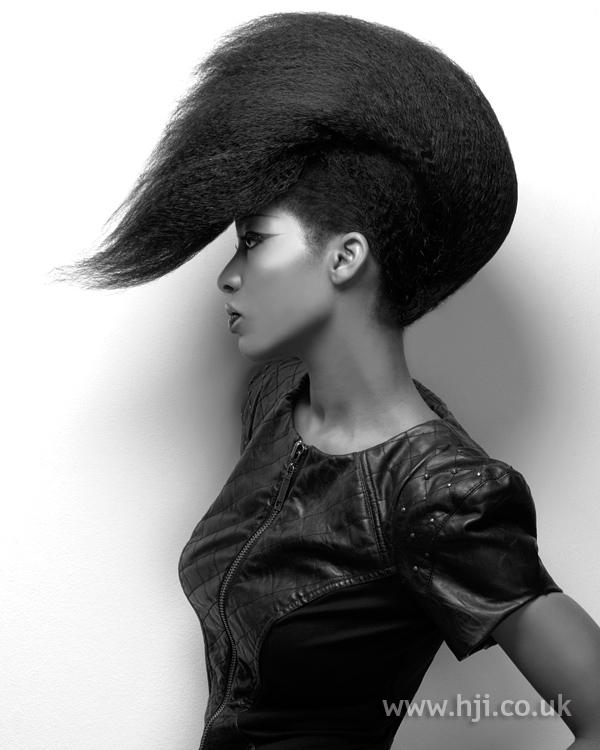 Swept forward afro quiff