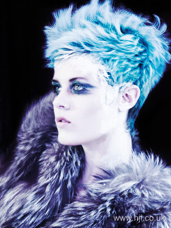 Carl Kelly blue crop hairstyle