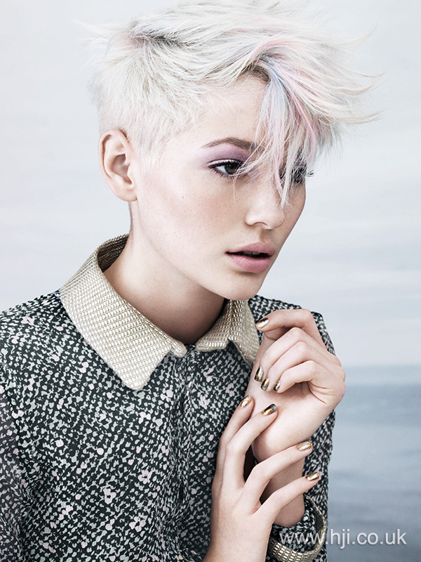 Cropped hair with colourful highlights