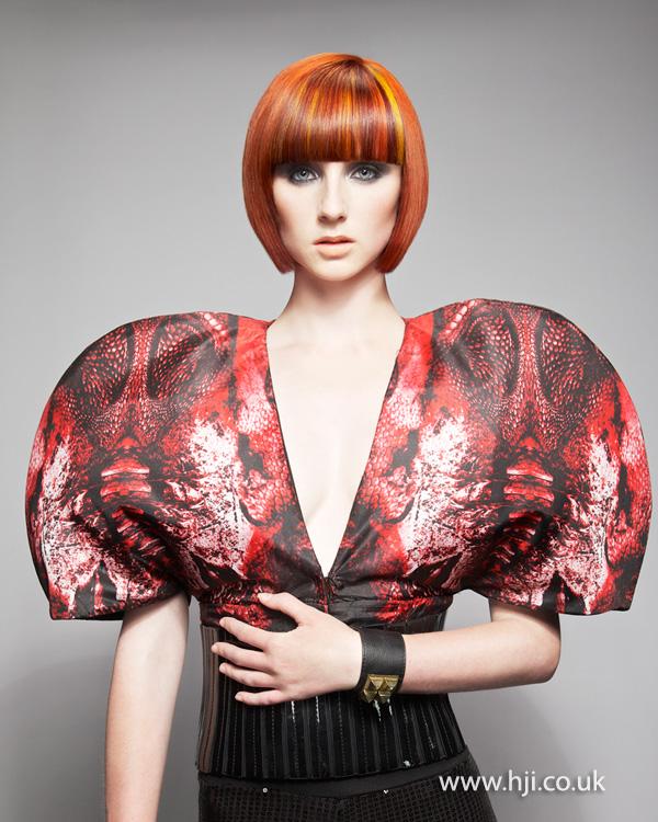 2014 women red blunt bob
