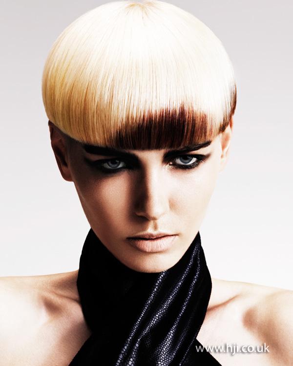 2014 blonde short bob with dark fringe