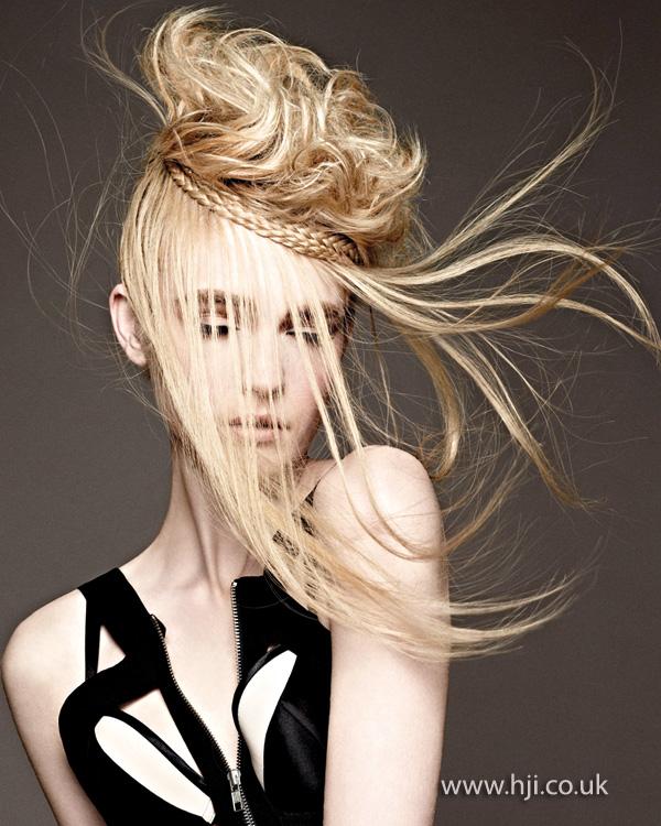 2014 blonde textured plait updo