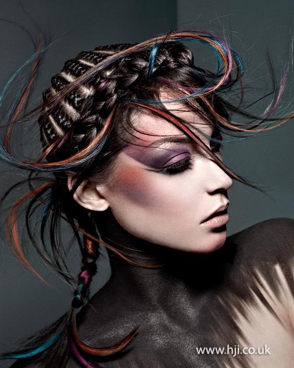 2014 brunette braids coloured streaks