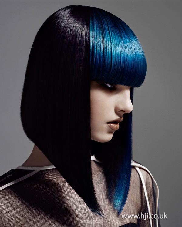 2014 long black bob with blue fringe