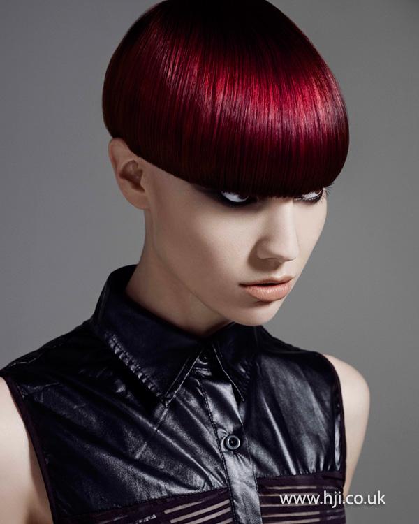 2014 vibrant red short bob
