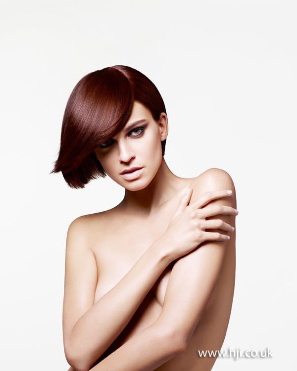 2013 rich brunette side fringe bob
