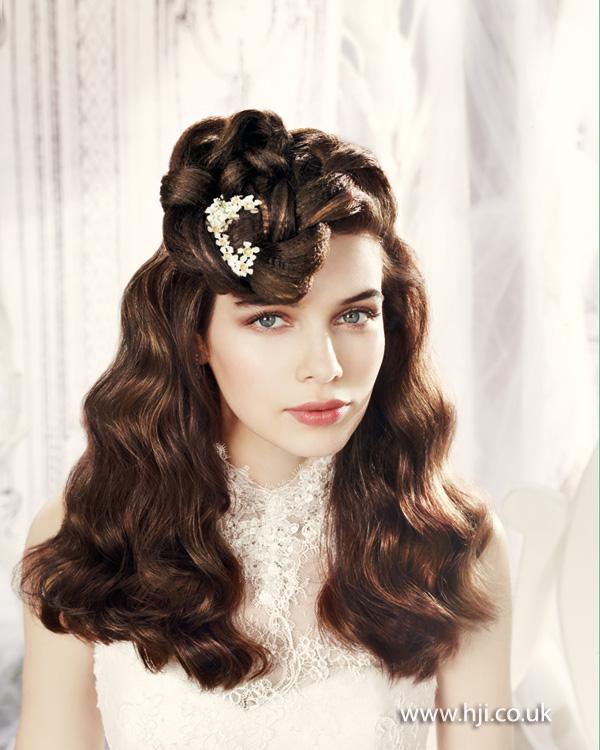 2014 bridal brunette waves flowers plait