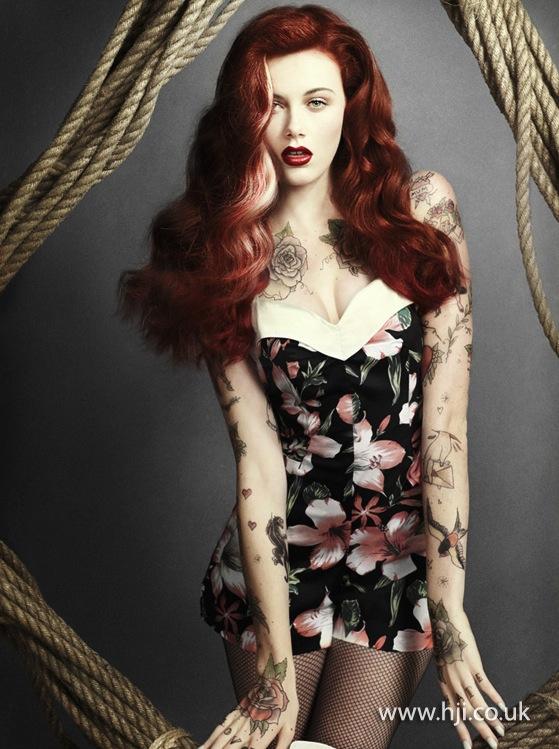 2014 red rockabilly curls