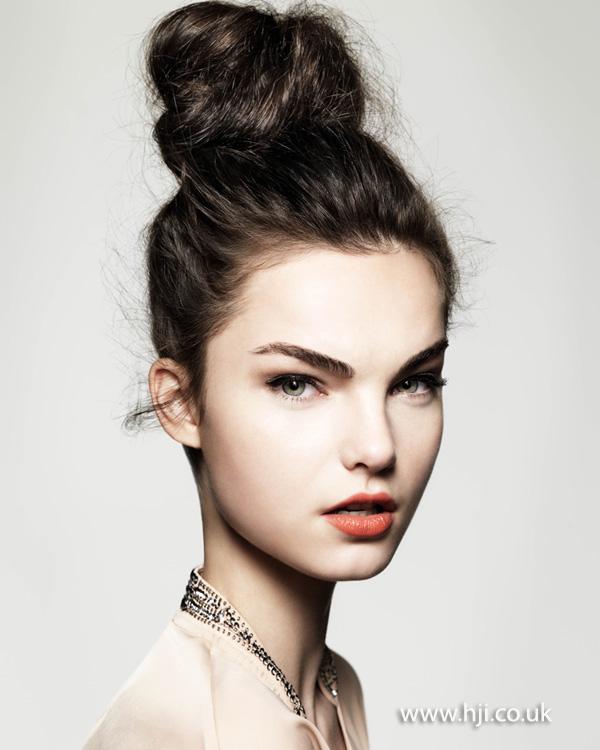 2014 brunette glam top knot