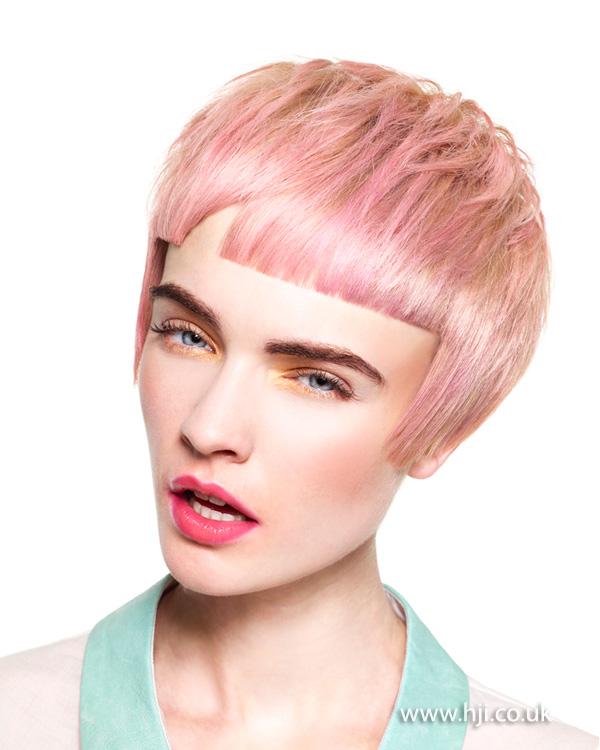 2013 blonde pink short cropped fringe