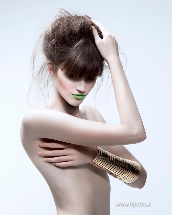 2014 textured brunette updo with fringe