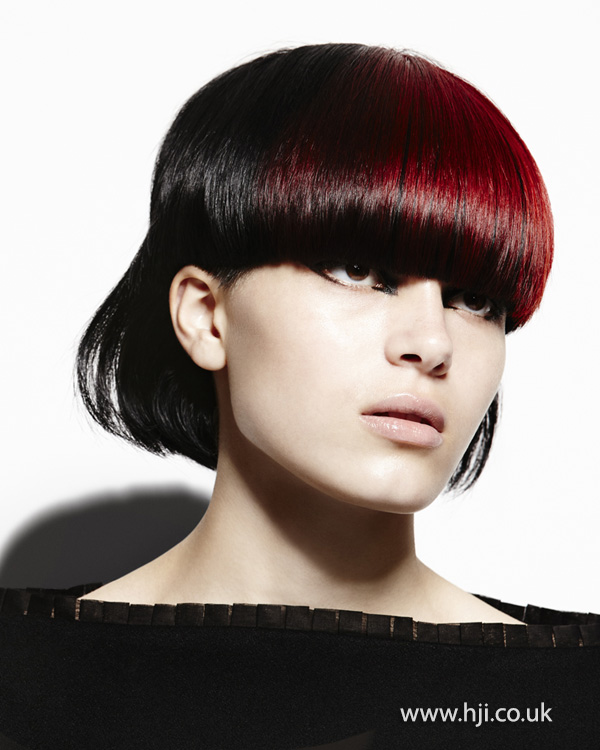 2014 black bob rounded red fringe