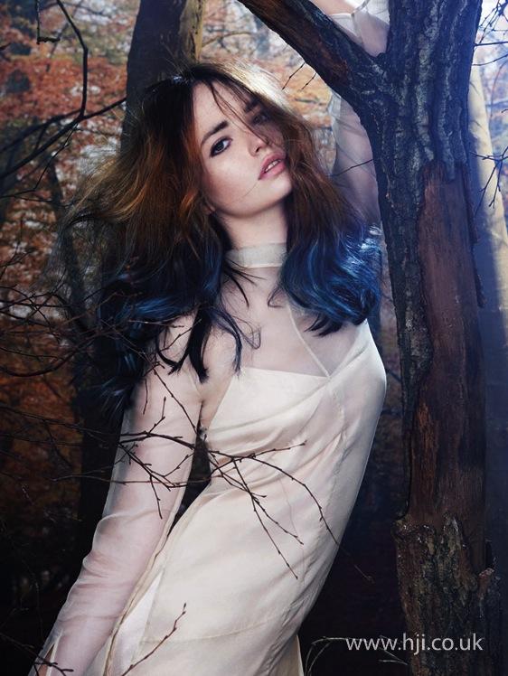 2014 brunette blue dip dye