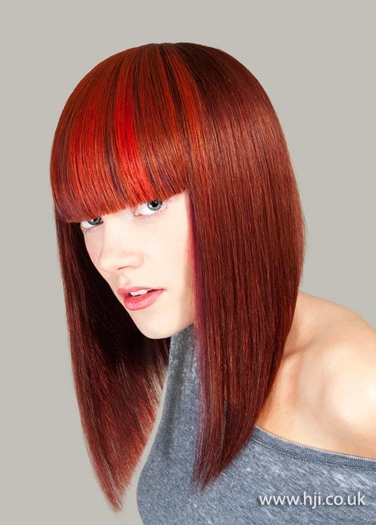 2014 multi tonal long red bob blunt fringe