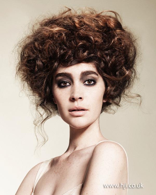 2014 brunette textured curl updo