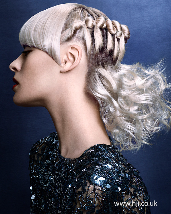 2014 cool blonde multi texture updo