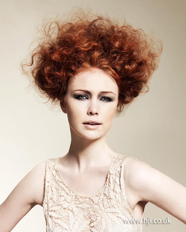 2014 textured copper curls updo