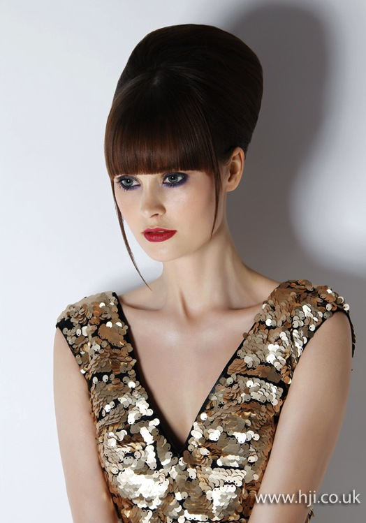 2014 clean brunette beehive with fringe
