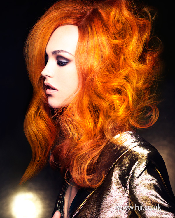 2014 Long orange look with curls and waves