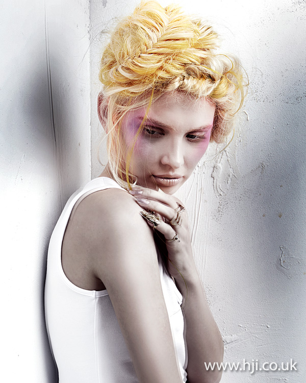 2014 soft yellow braided updo
