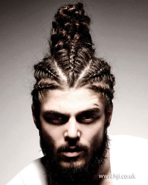 2015 long hair plaited and sculpted into high top section