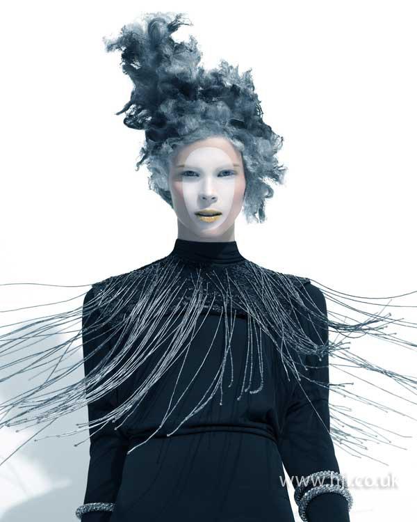 2015 avant garde sculptured smokey blue cloud hair