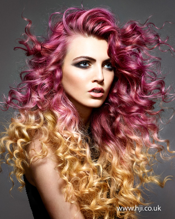 2015 pink curls with golden ombre