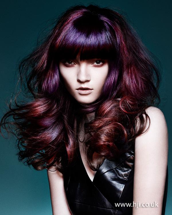 2015 purple red voluminous curls