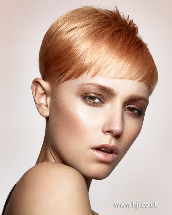 2015 apricot peach pixie crop with sweeping fringe