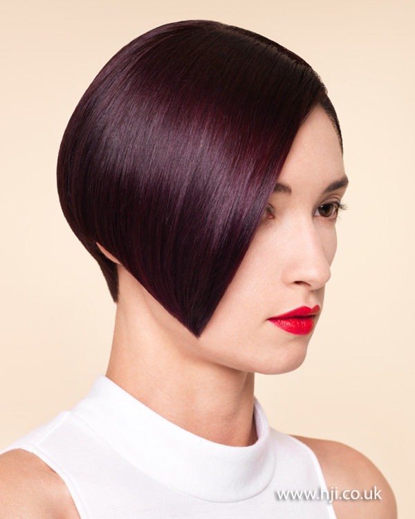 2015 asymmetric bob with deep aubergine hair colour
