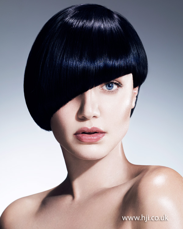 2015 asymmetric midnight blue smooth hairstyle