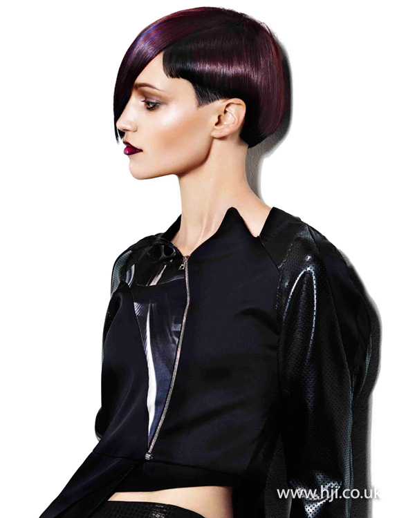 2015 asymmetric purple hairstyle with fringe