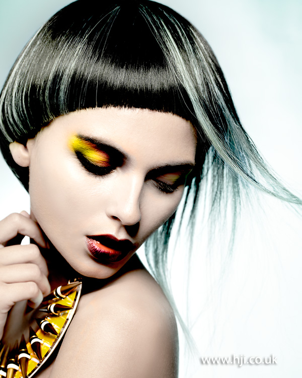2015 black bob hairstyle with mint green panels