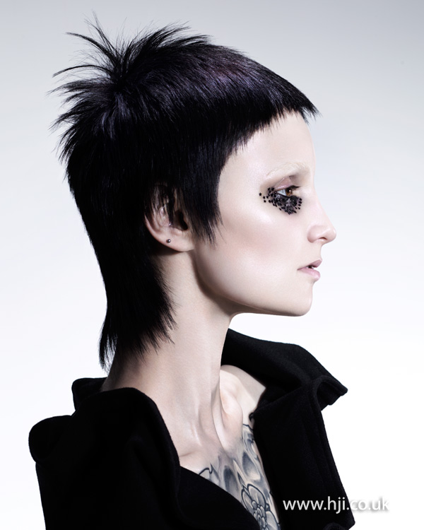 2015 black mullet hairstyle with short fringe