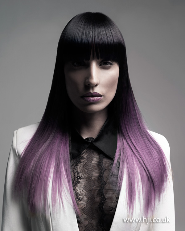 2015 black to purple ombre hairstyle