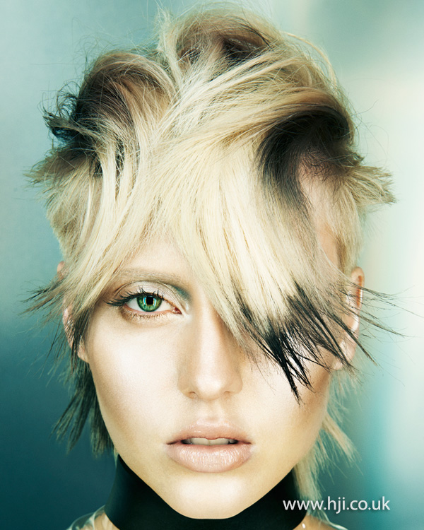 2015 blonde and black cropped womens hairstyle