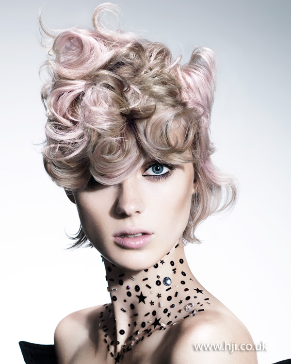 2015 blonde and pastel pink curls