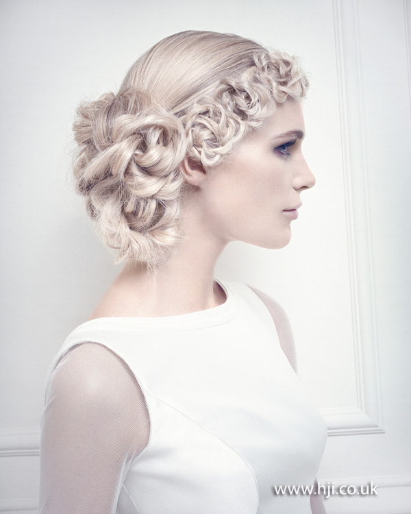 Blonde chainlink side bridal updo