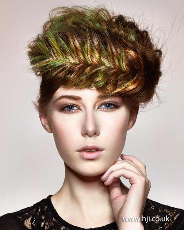 2015 brown and green fishtail braid hairstyle
