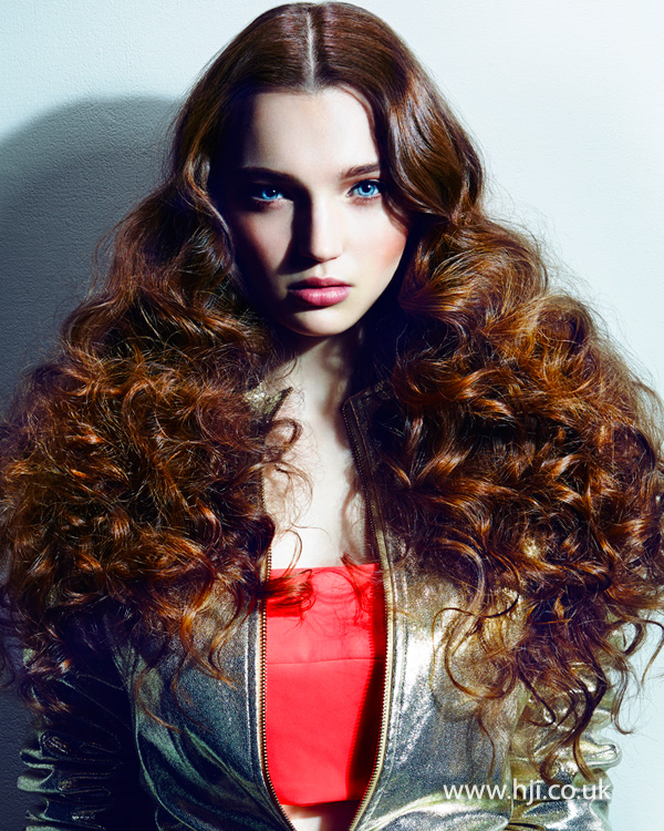 Uniformed curls with middle-parting