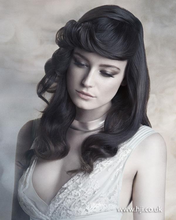 2015 brunette retro wedding hairstyle