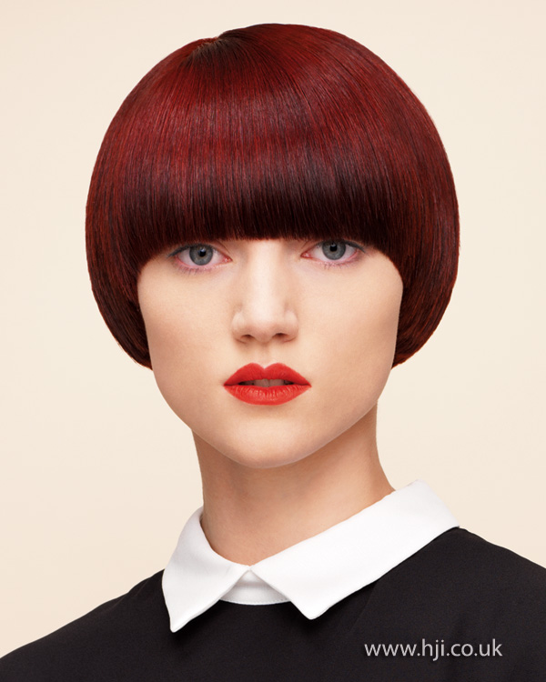 2015 cherry red bob with full fringe