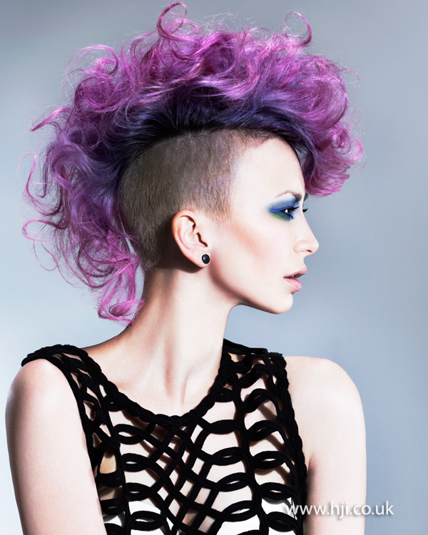 2015 Curly Purple Mohawk Hairstyle