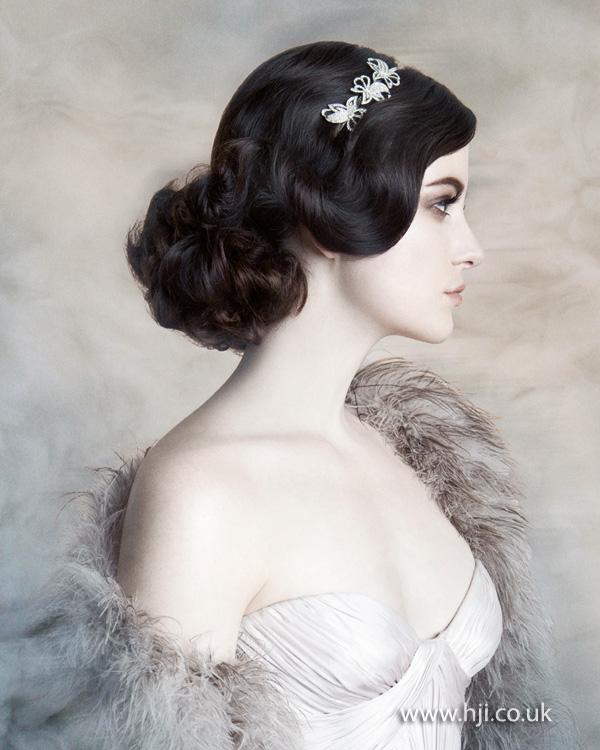 2015 dark brown waved retro bridal hairstyle