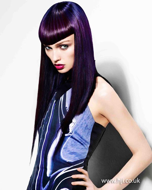 2015 dark purple straight hair with fringe