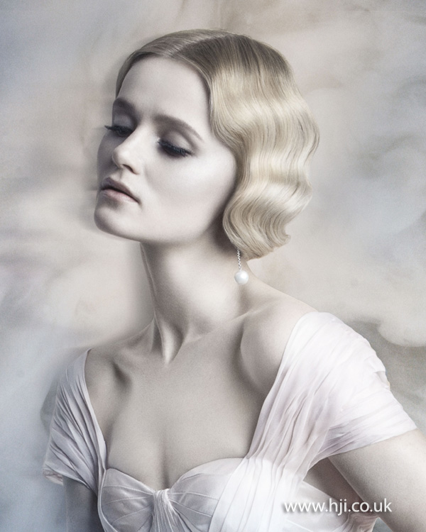 2015 fingerwaves blonde bridal hairstyle