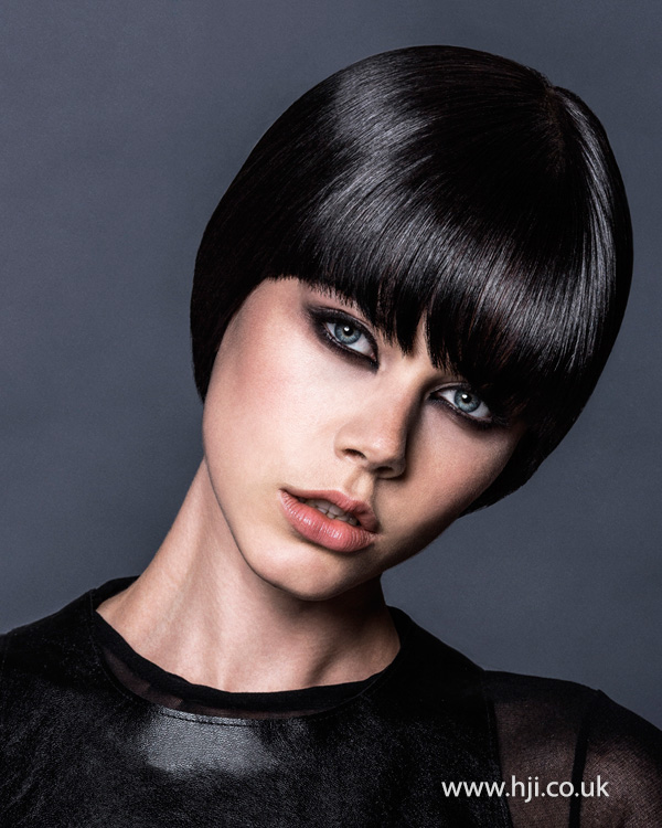 2015 glossy black womens bob hairstyle with fringe